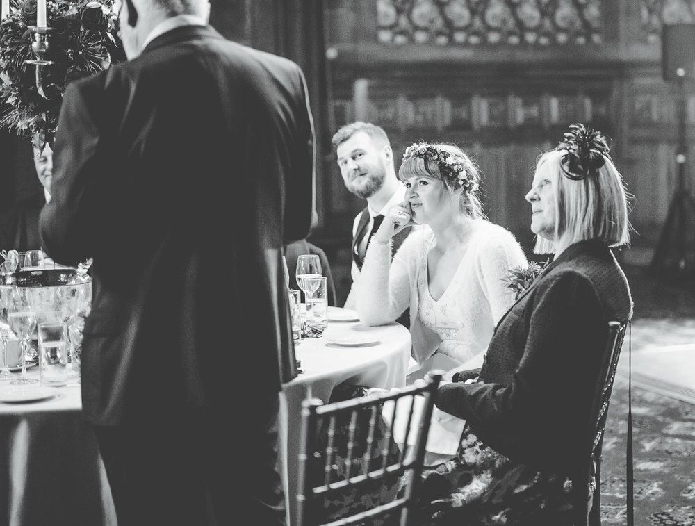 speeches at Manchester town hall - bride and groom