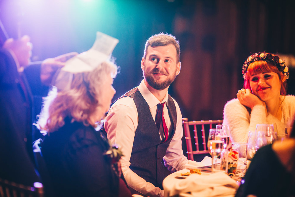 groom laughs at speeches
