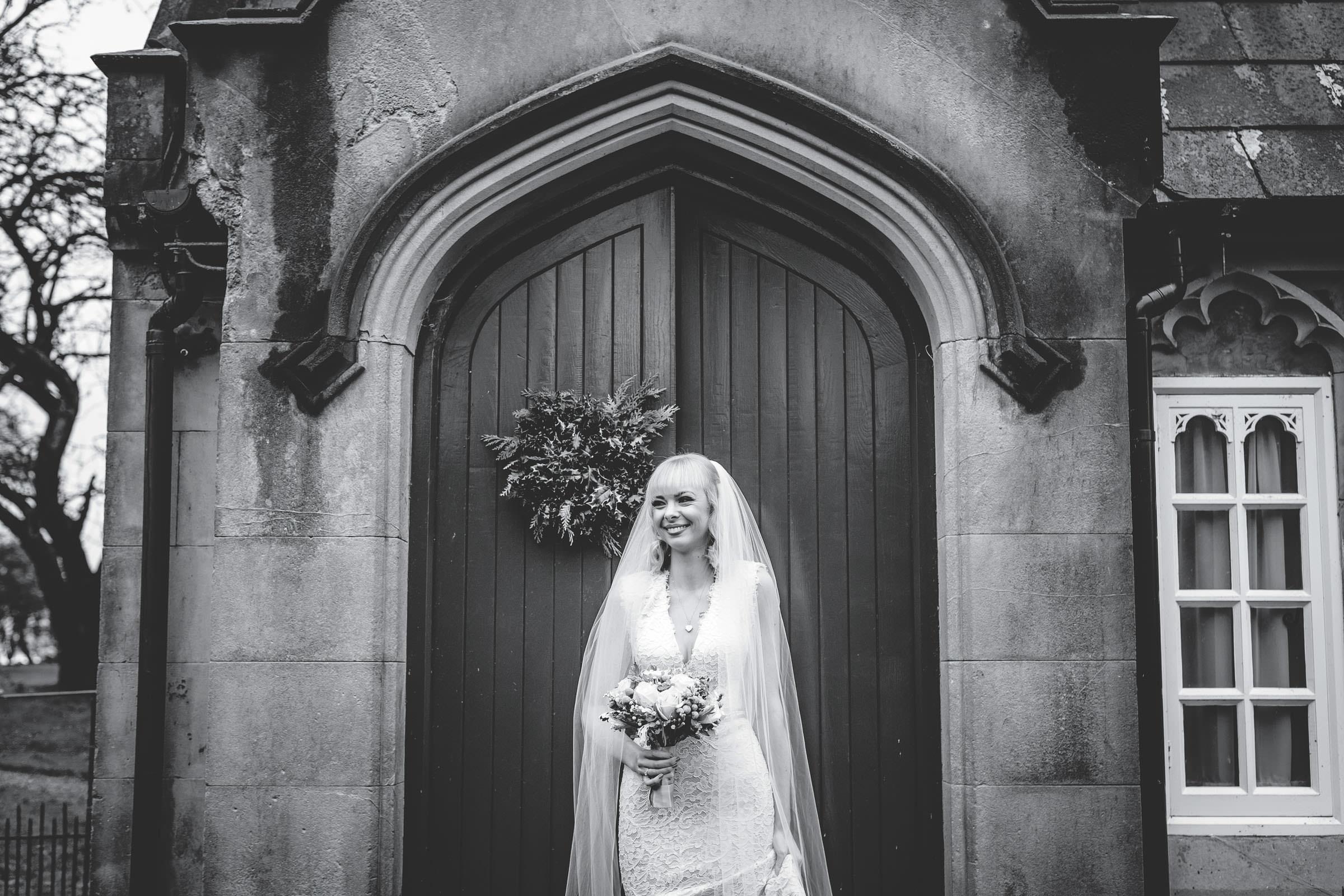 bride portrait outside lodge Combermere Abbey