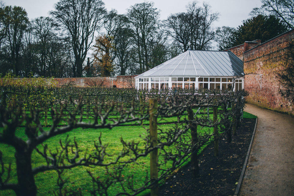 Exterior of Combermere Abbey. Winter wedding photography. Shropshire wedding.