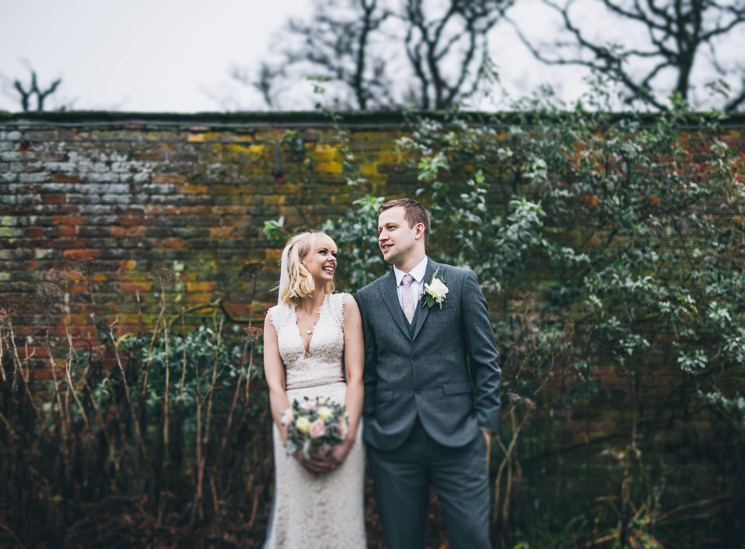 stylish wedding couple at Combermere Abbey Shropshire
