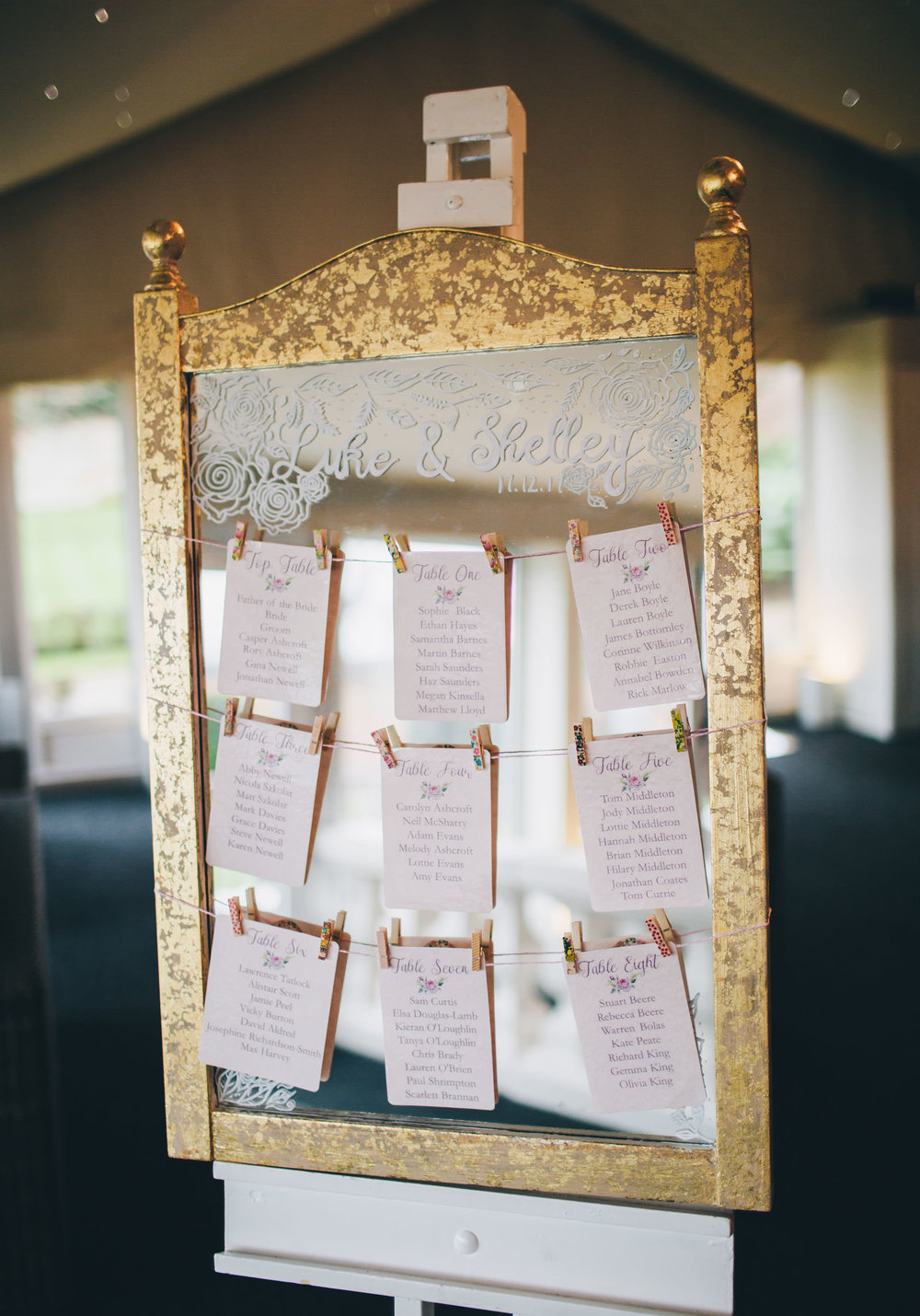 the wedding seating plan. Winter wedding at Combermere Abbey.