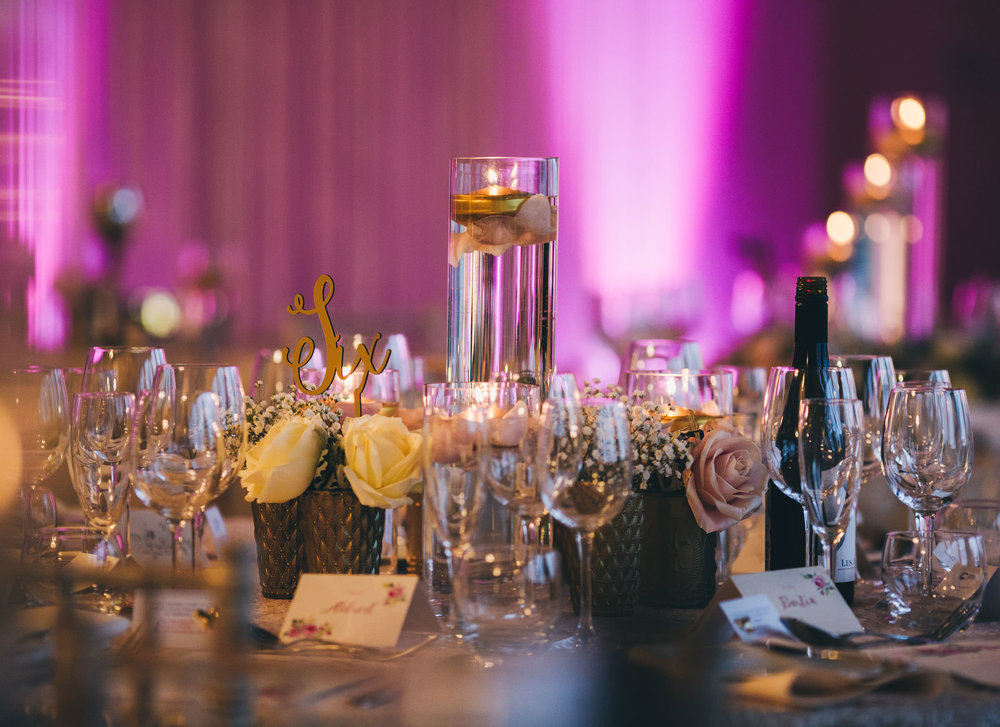 Table details. documentary styled wedding photographer from Shropshire. Combermere Abbey for a winter wedding.