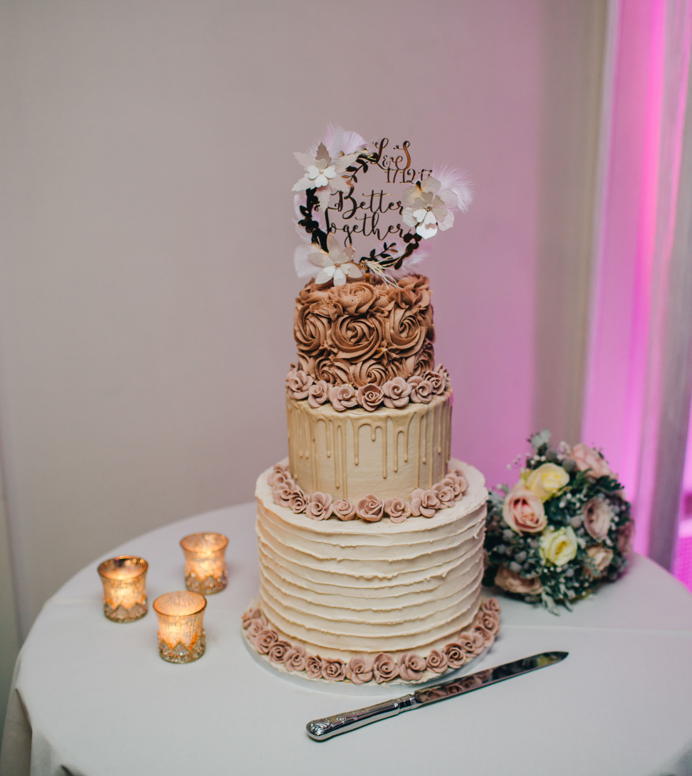 stunning wedding cake at Combermere Abbey