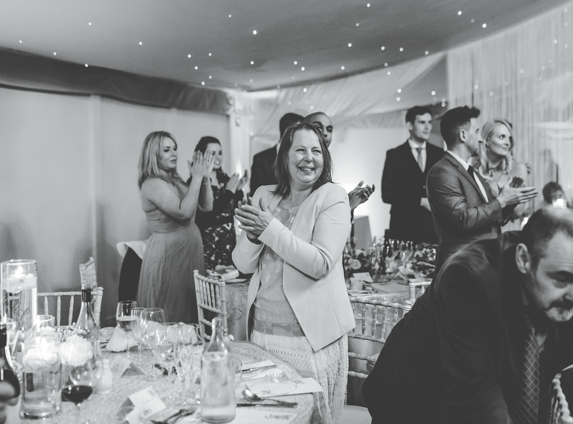 guests clapping whilst bride arrives!