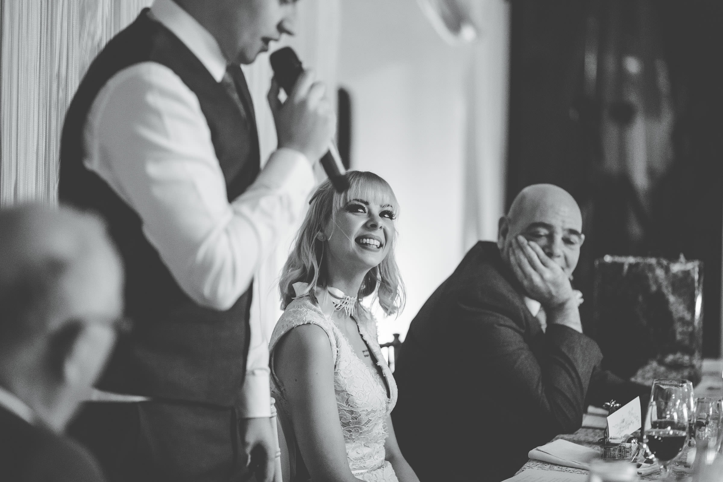emotional bride at Combermere Abbey wedding