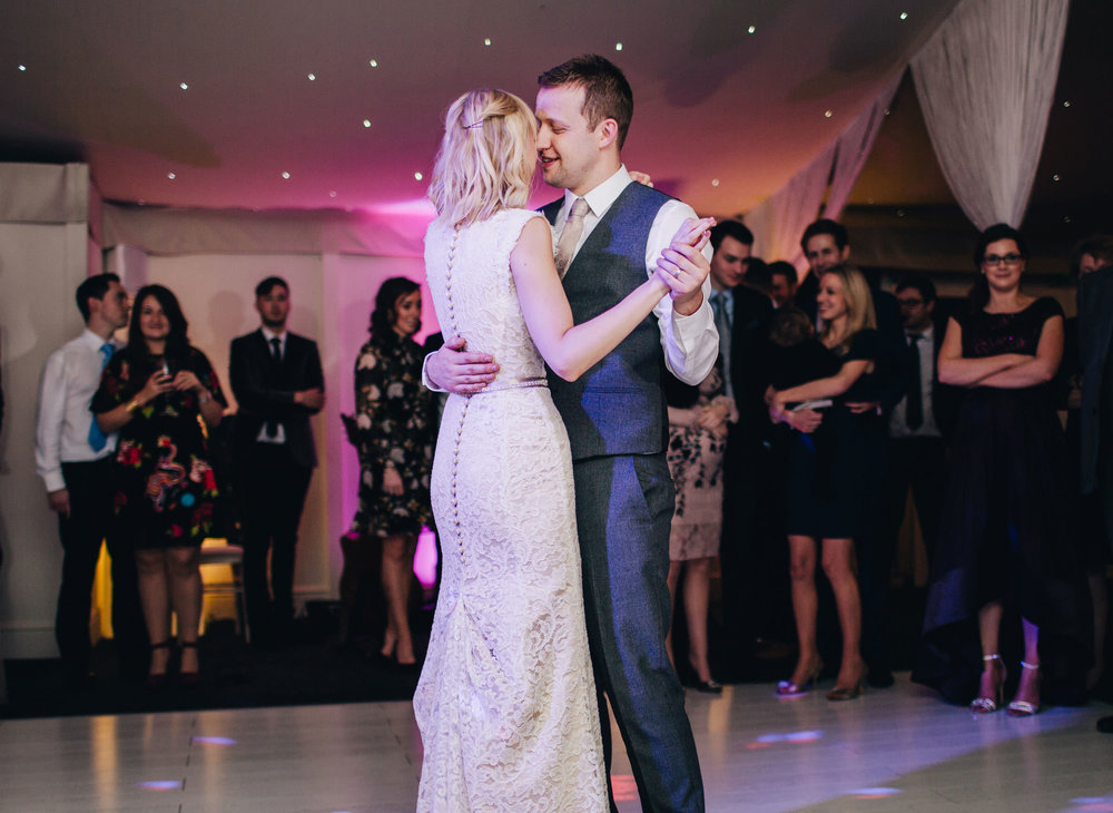 Bride and grooms first dance. Combermere Abbey for a winter wedding.