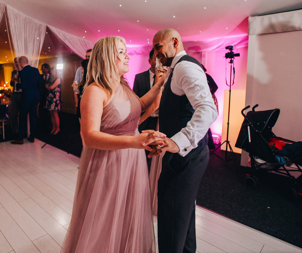 Dancing on the dance floor. Shropshire wedding photographer.