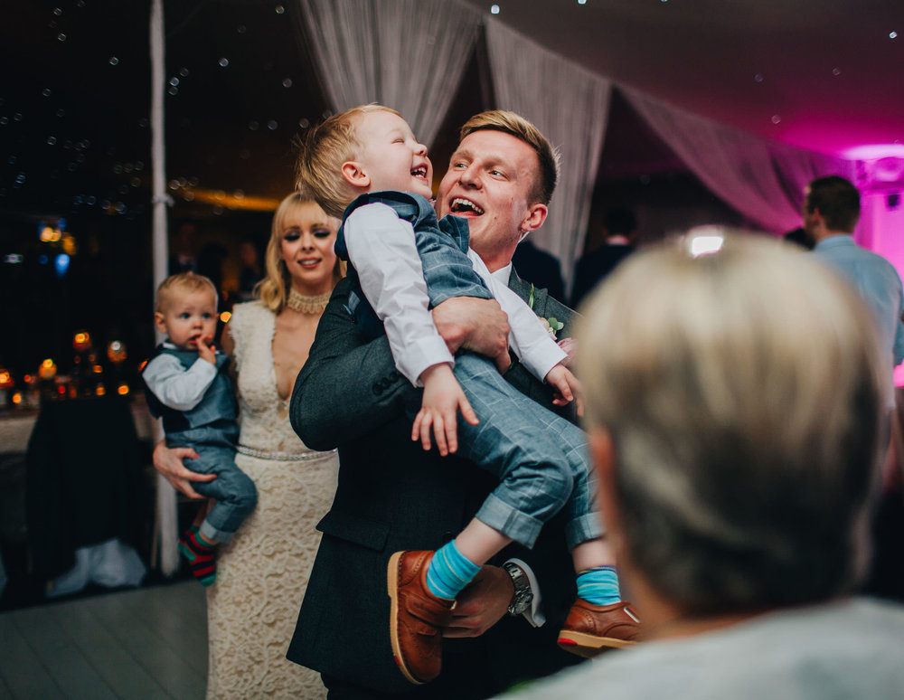 Laughter from the from and his son. Shropshire wedding.