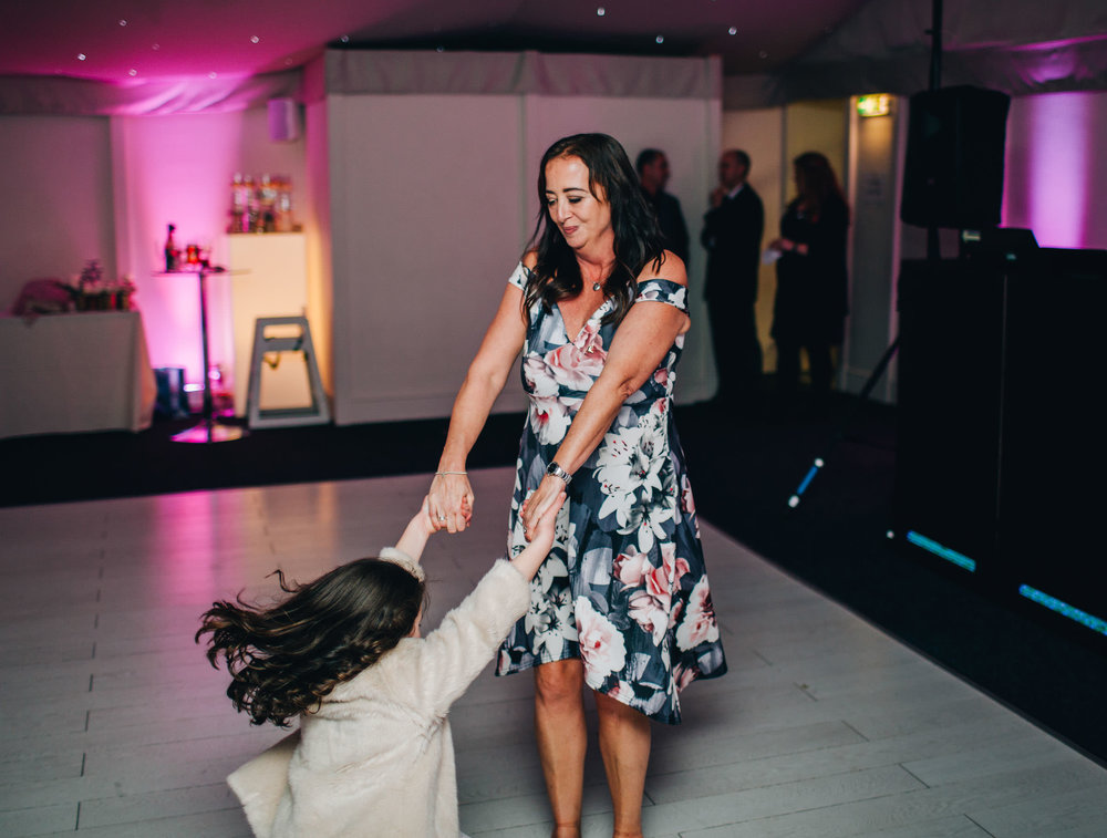 Spinning of the dance floor. Documentary styled wedding photography at Combermere Abbey