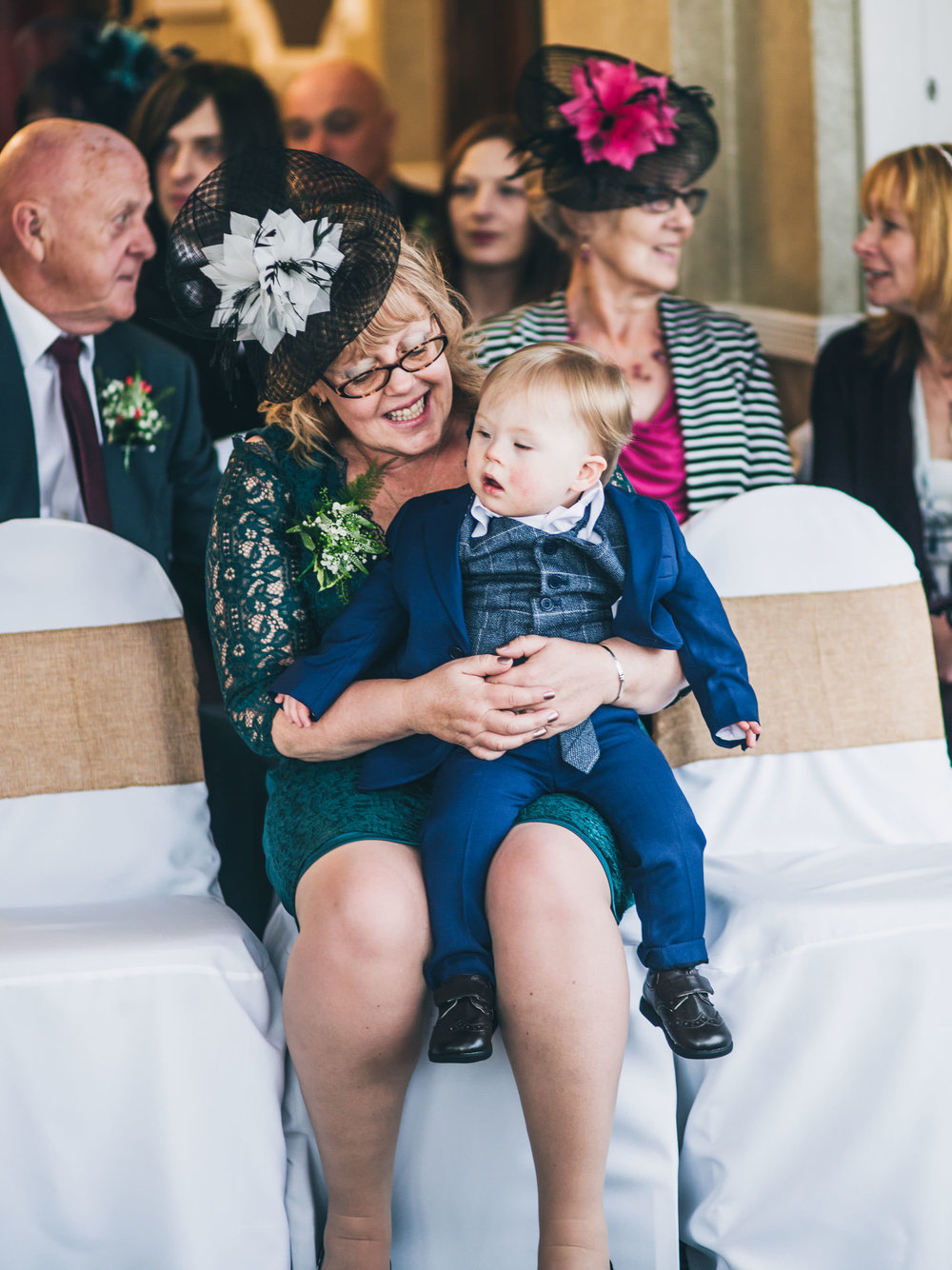 The mother of the bride and her grandson. Creative wedding photographer Lancashire.
