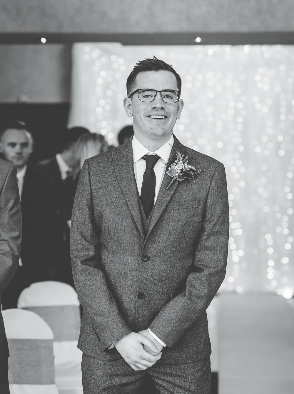 The groom stood at the alter. Lancashire wedding photographer.