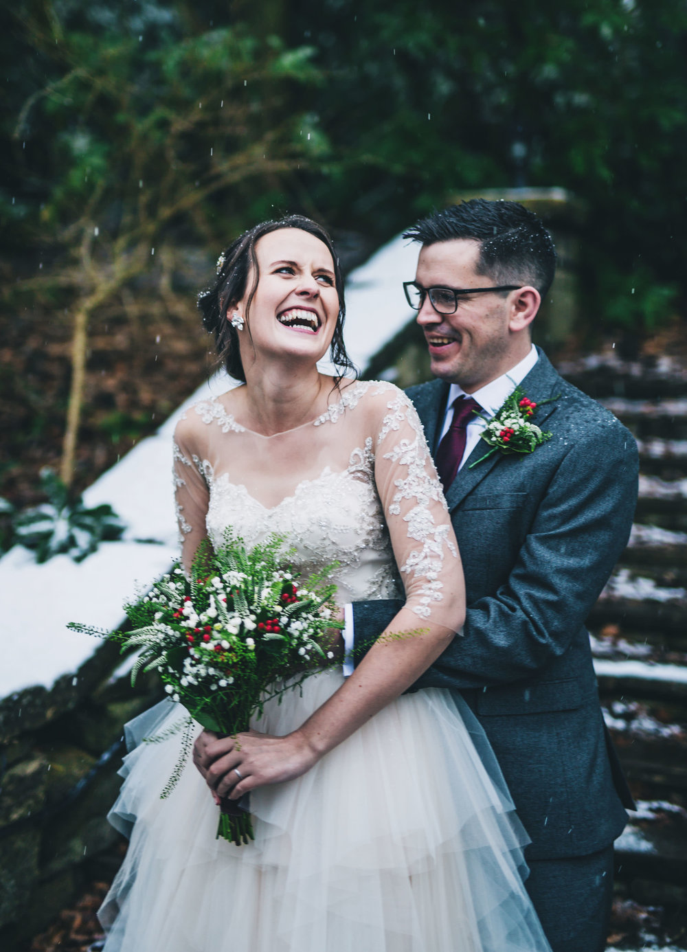 Laughter from the bride and groom. Wedding photographer Lancashire.
