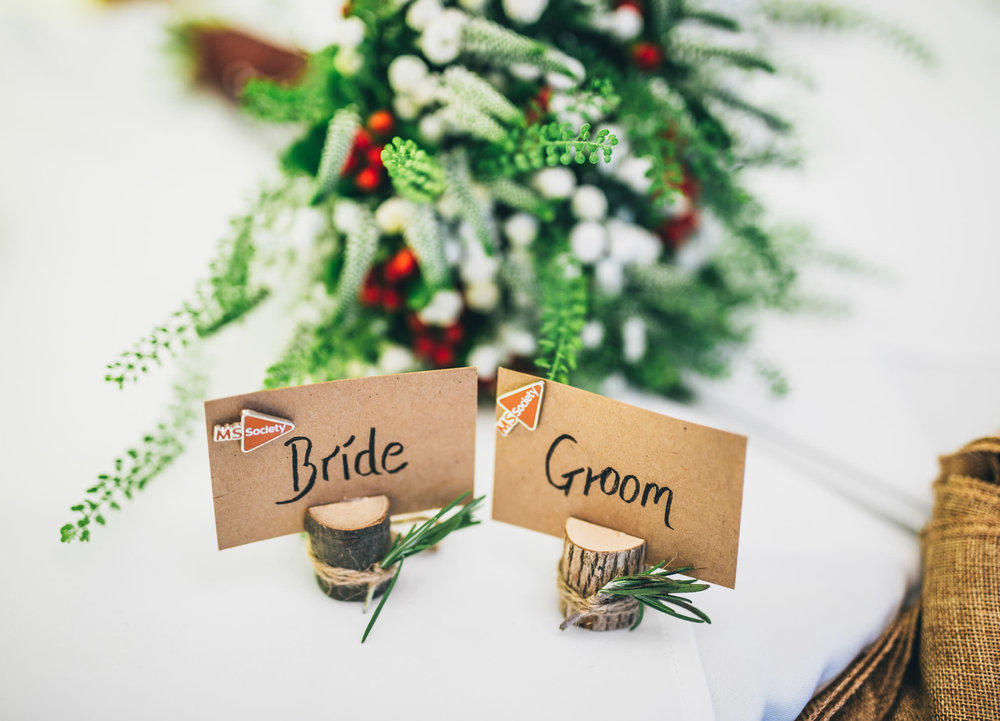 Table decorations fro the winter wedding in Lancashire.