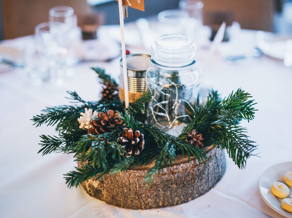 Wedding table decorations. Winter themed wedding.