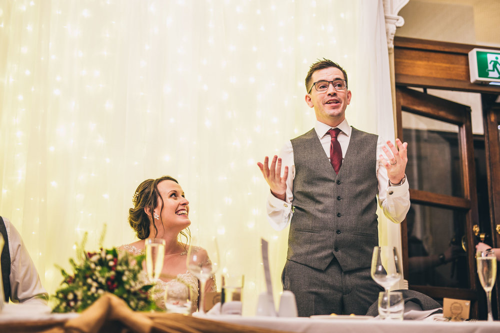 The groom during his wedding speech. Wedding photography Lancashire.