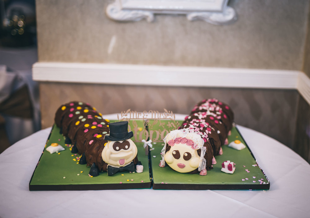 Colin the caterpillar wedding cakes. Winter wedding.