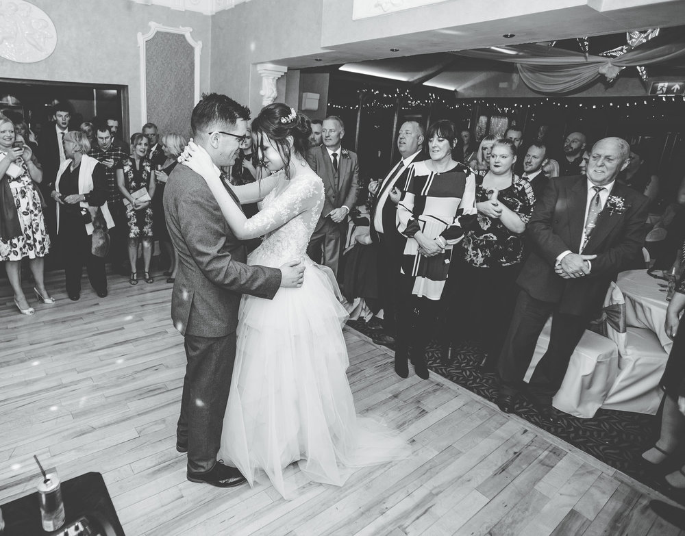 The bride and grooms first dance. Winter wedding photography Lancashire.