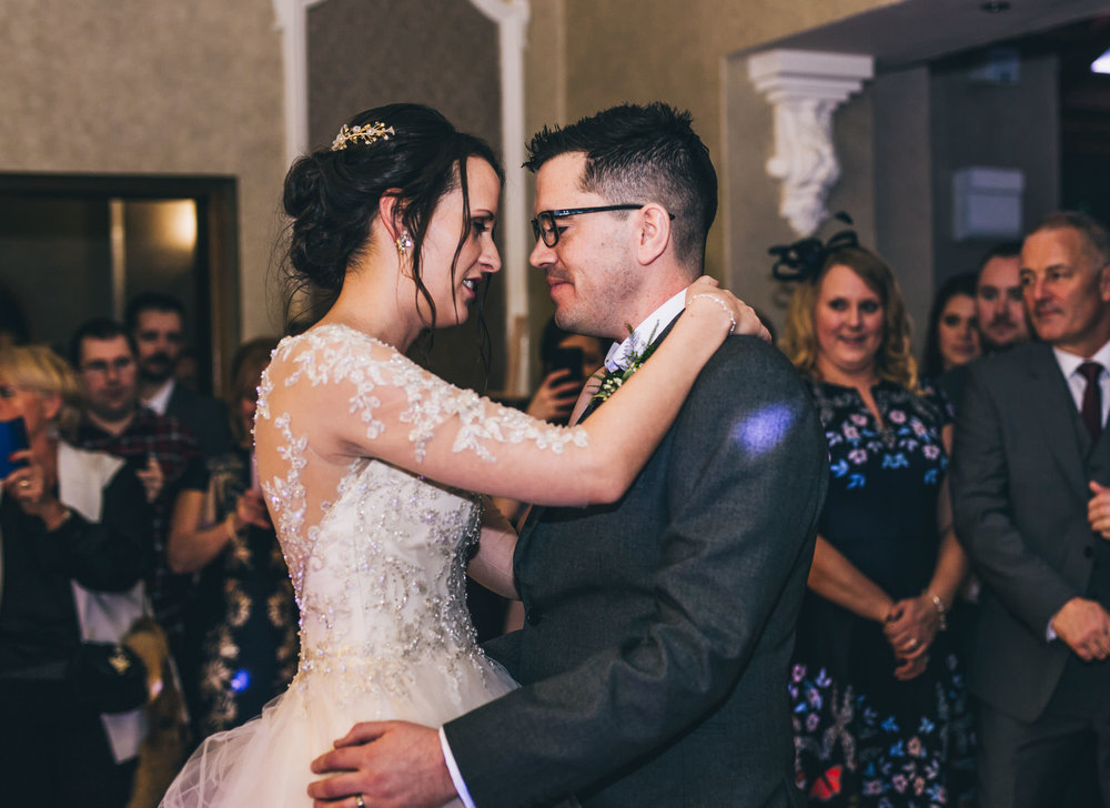 The bride and grooms first dance. Documentary styled wedding photography from Lancashire.