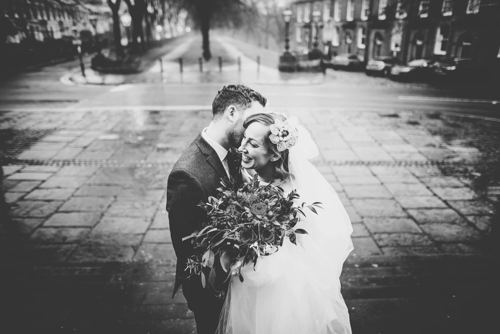 Black and white photograph of the bride and groom. Winter wedding in Preston.