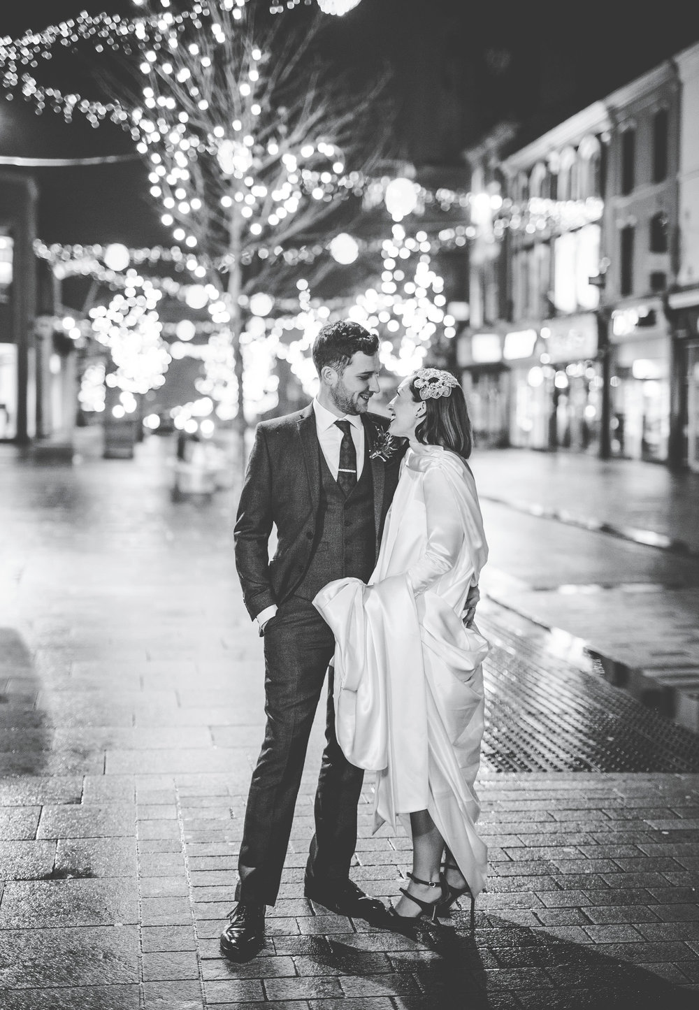 the bride and groom in streets of Preston. DIY winter wedding.