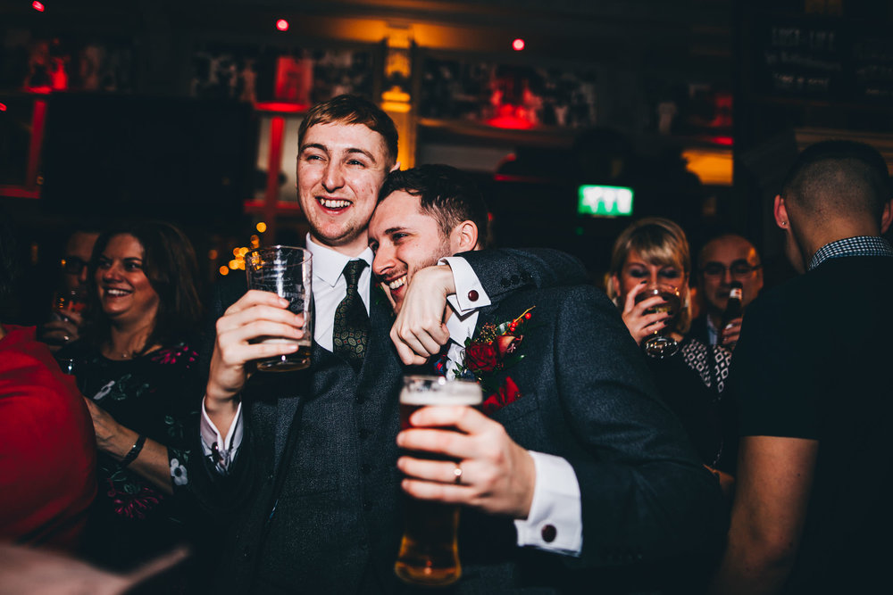 The groom and his best man. Alternative winter wedding in Preston.