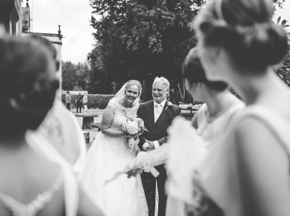 Black and white photo of the bride and her father. Creative wedding photographer Lancashire.