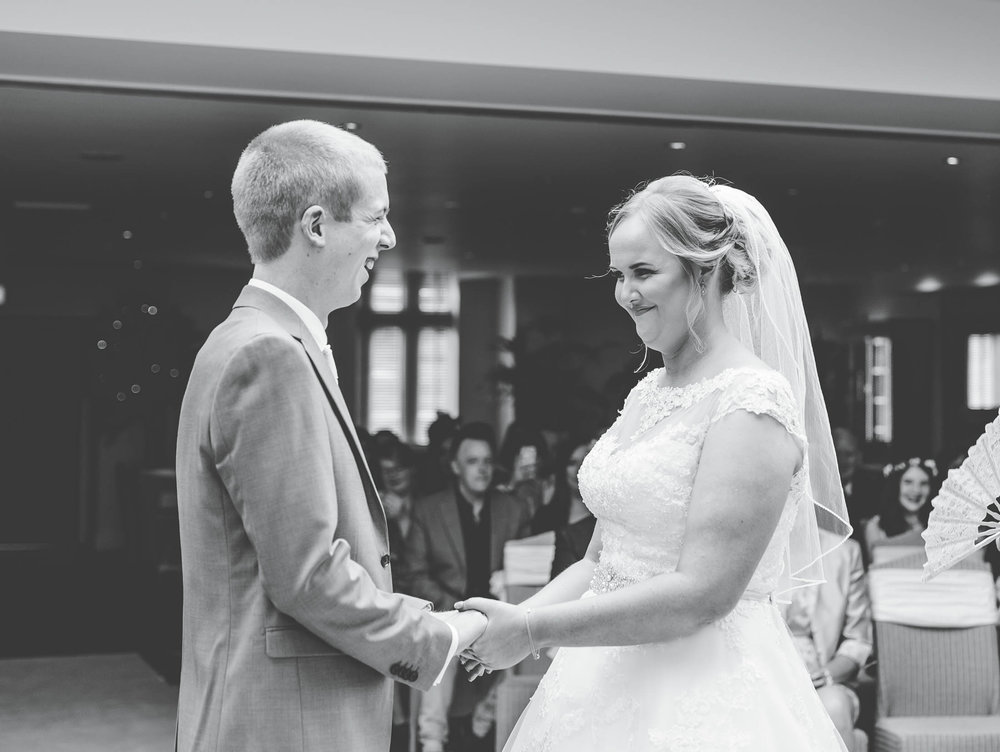Black and white photo of the bride and groom.