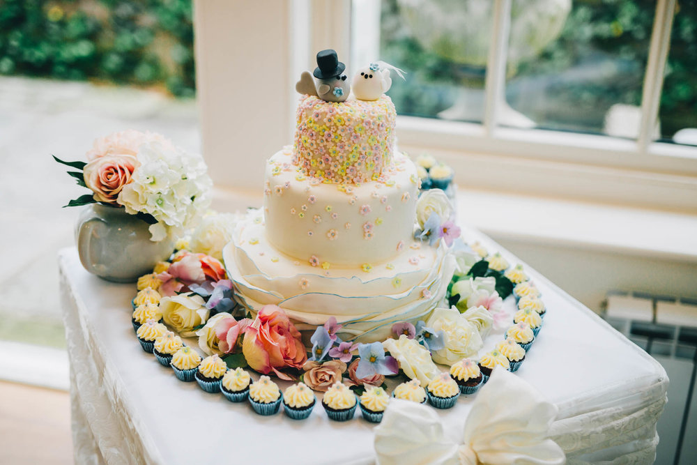 The wedding cake. Summer themed wedding at Mitton Hall.