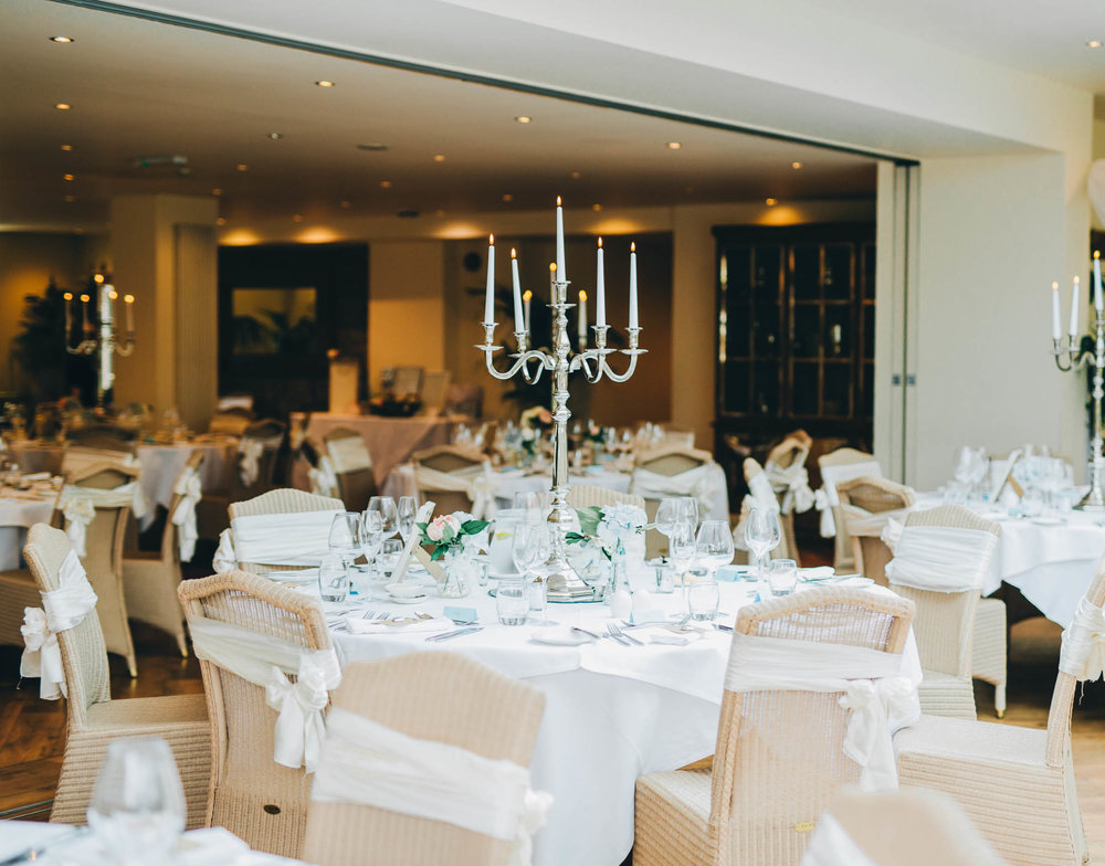 The meal room at Mitton Hall. Relaxed summer wedding.