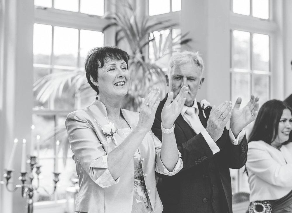 Black and white photo of wedding guests. Lancashire wedding.