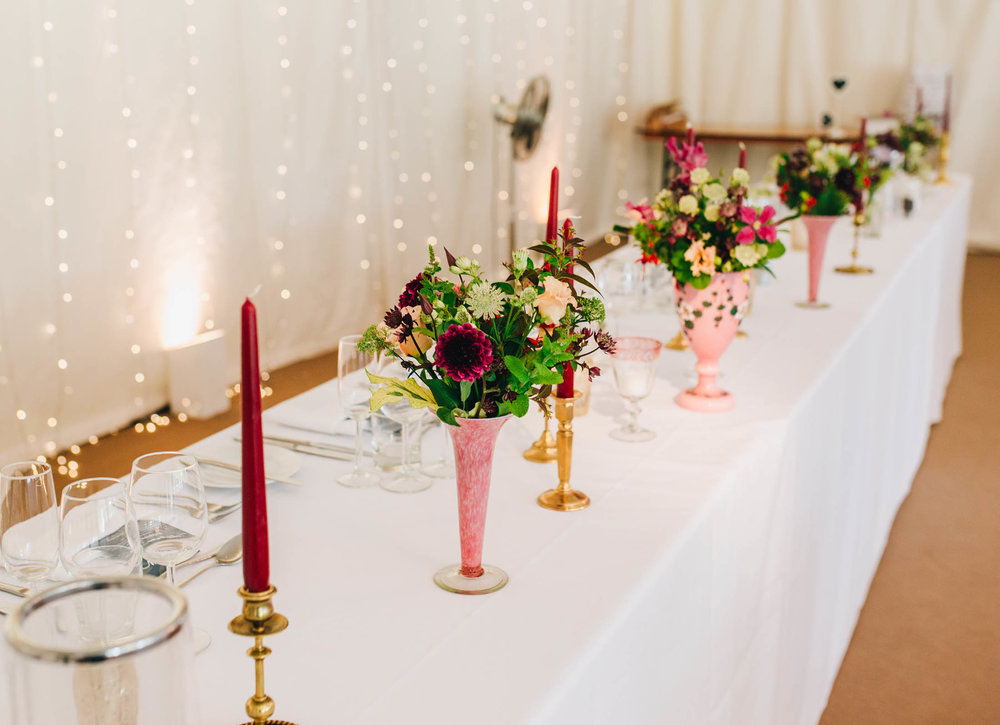 table settings at Iscoyd Park