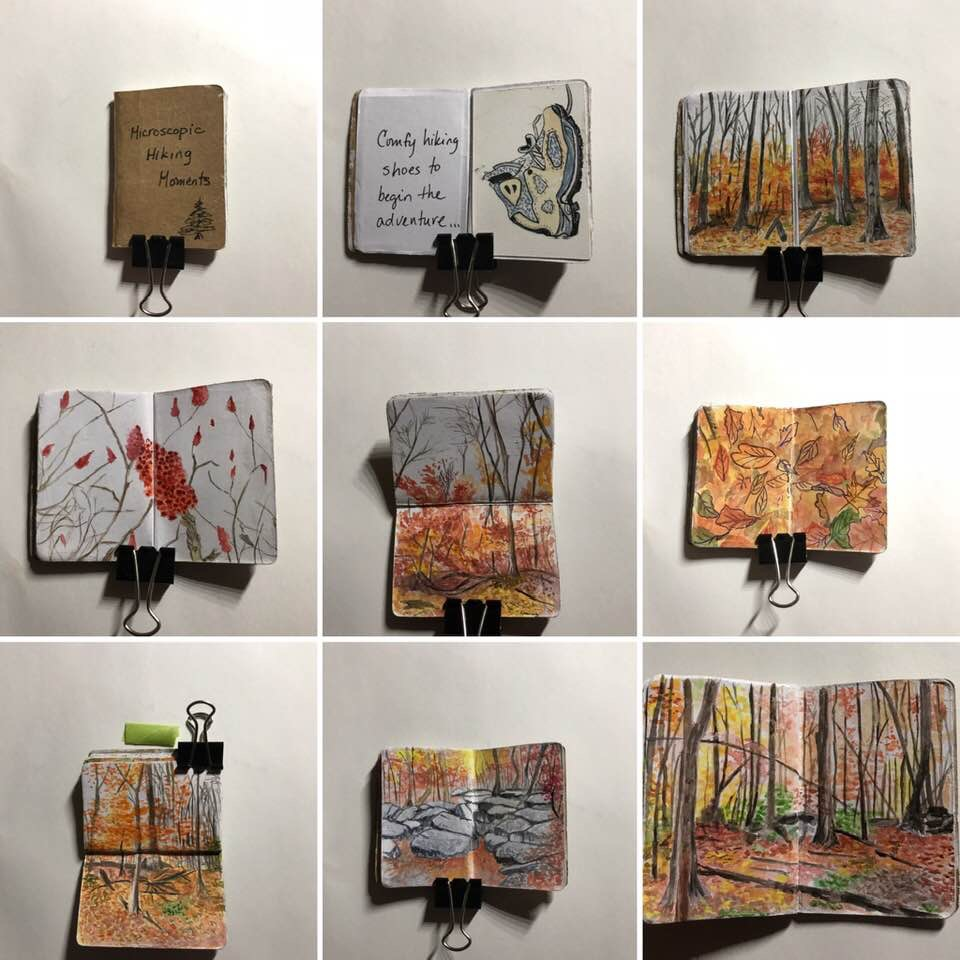 Pages from my Tiny Sketchbook Project, Brooklyn Art Library, 2018 Theme: Microscopic Memories.