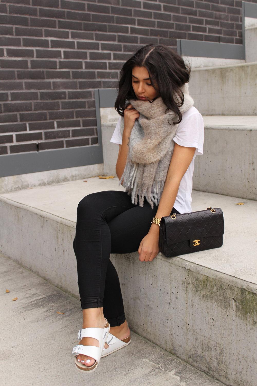 Sandals/ Birkenstock     Jeans/ Bikbok     Purse/ Chanel     Tshirt/ H&M     Watch/ MichaelKors    Jacket/ Zara    Scarf/ Holzweiler