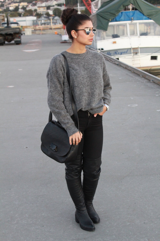 Sweater/Hm    Sunglasses/Dior    Kneeboots/JeffreyCampbell    Handbag/AcneStudios    Watch/MichaelKors    Jeans/Dr.Denim