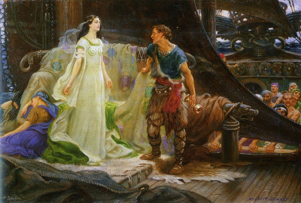 Tristan and Iseult as depicted by Herbert James Draper (1863–1920)