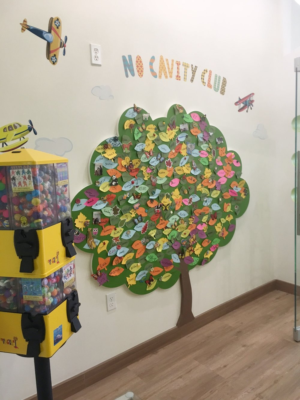 "Toy Tower and ""No Cavity Club"" Tree"
