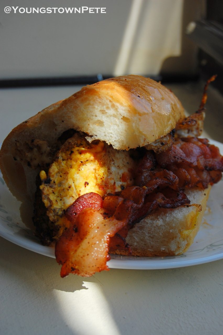 Bushwick, Brooklyn, NY. Thissammich was the truth! Bacon x Fried Egg x Red Hot on a toasted roll from the bodega.. WUT