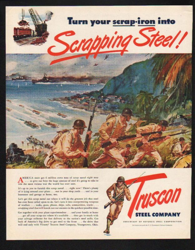 WWII Propaganda ad for Truscon Steel, the last set of photos I posted on here. Ironic because they are scrapping the mill, and also because selling stolen scrapmetal is a one of the few major industries left here in Youngstown.