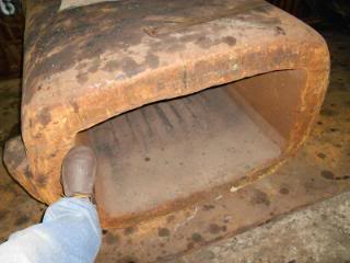 """An iron mould for slab from the old pre-melt shop caster days. This mould was made at Valley Mould in Hubbard. I worked there starting during the new electric furnace melt shop for 4 years till they shut down. They reopened as Elwood City Forge. We used this iron mould to ""break up"" steel that ""piled up"" instead of going into the coiler due to a problem."""