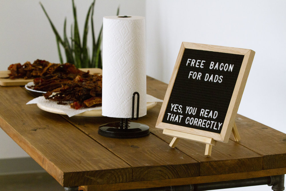 Bacon for Dads - On Father's Day we said thank you to our Dads with more than just words, but actions. Specifically,with bacon. Love you Dad.