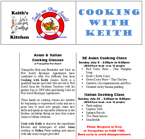 cooking with keith port sorell near devonport