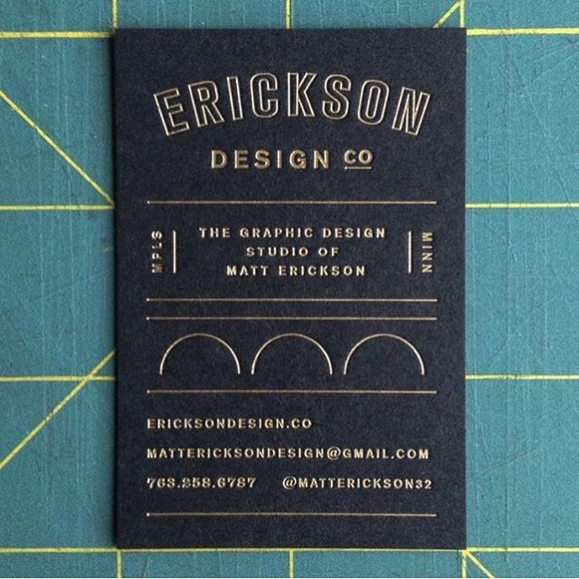 No. 029 / designed by @matterickson32 / printed by @sparkletterpress / gold foil on @frenchpaperco muscletone black 140# cover / #100daysofbusinesscards  Thanks to @frenchpaperco for the feature today and of course to Matt for working with us! #foil #foilstamping #gold #goldfoil #businesscards #minneapolis #design