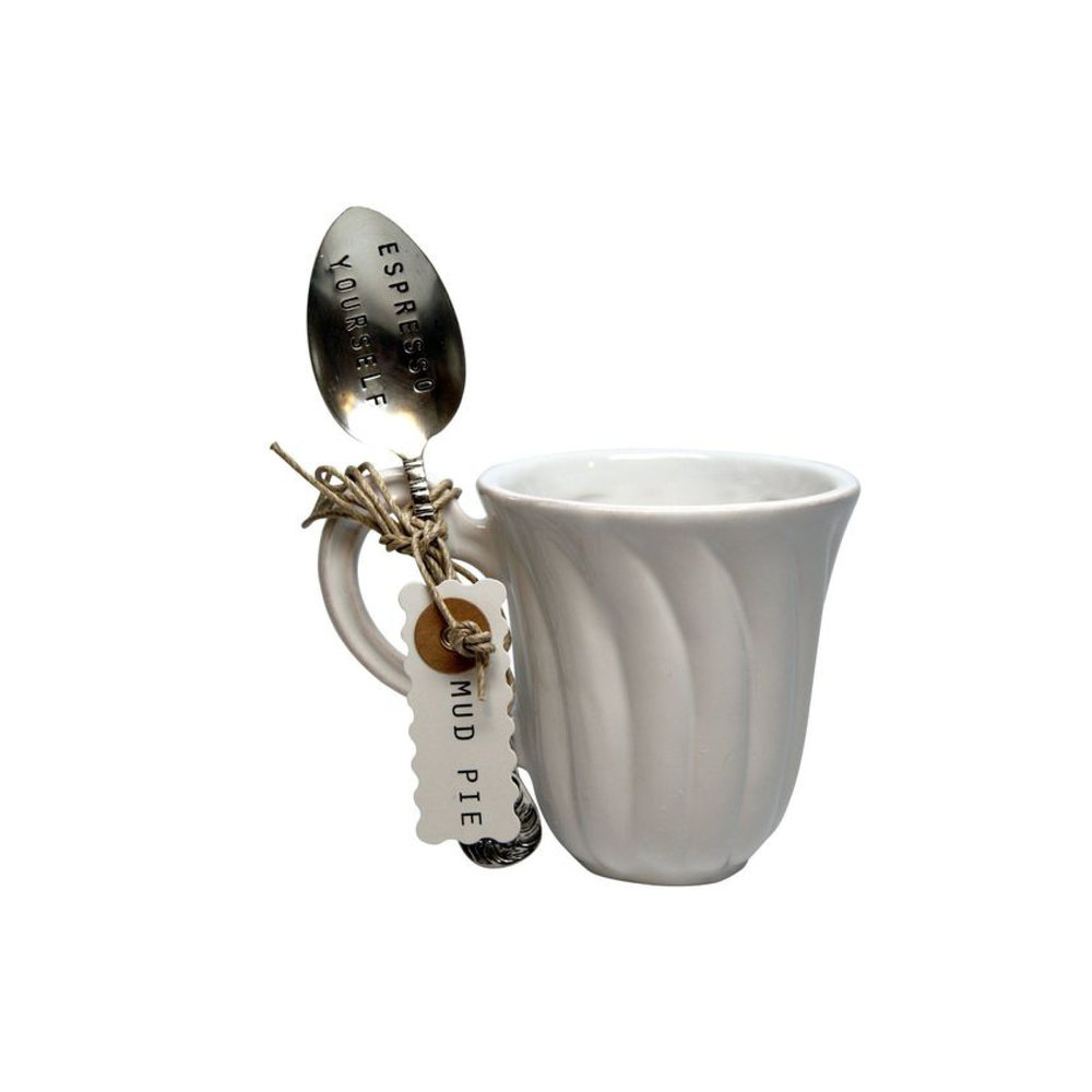 "Mud Pie ""Espresso Yourself"" Coffee Mug and Spoon Set $16.95 Wants 1 Has 0 Needs 1"