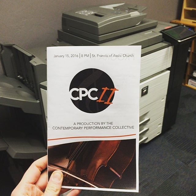 Hot off the presses! Can't wait for Friday's concert! Thank you @lasierramusic for all the help, support, and printing as we get ready for CPC II!  CPC II - January 15, 2016 - 8 PM St. Francis of Assisi Church, L.A.