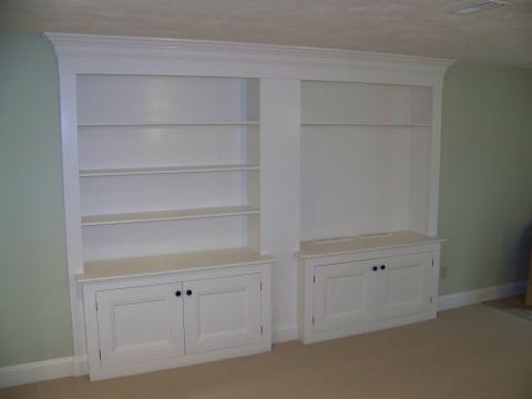 Custom Family Room built-in cabinets for TV, sound system