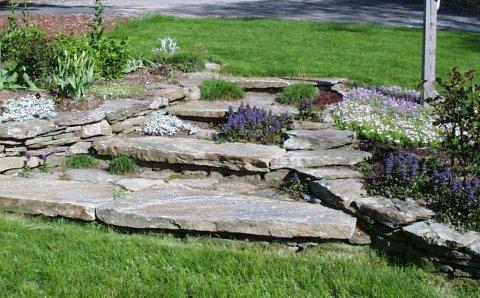 Raised planting bed and stone steps