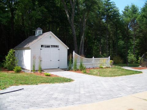 Paver exptension of existing asphalt driveway and ramp to garden shed