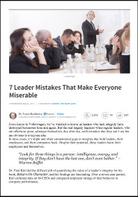 7 Leader Mistakes That Make Everyone Miserable (Dr. Travis Bradberry)
