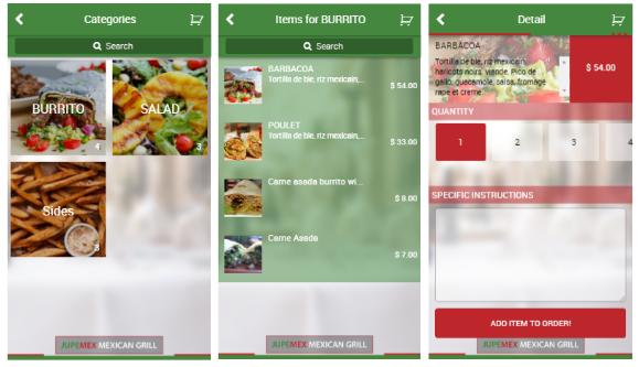 Restaurant app screenshots.